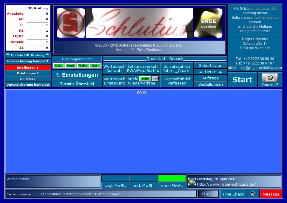 K 2007XP DB Business Screen shot